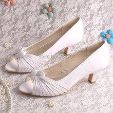 (20สี) Wedopusที่กำหนดเองแฮนด์เมดสีขาวยี่ห้อส้น5เซนติเมตรผู้หญิงรองเท้าแต่งงานP Eepเท้า