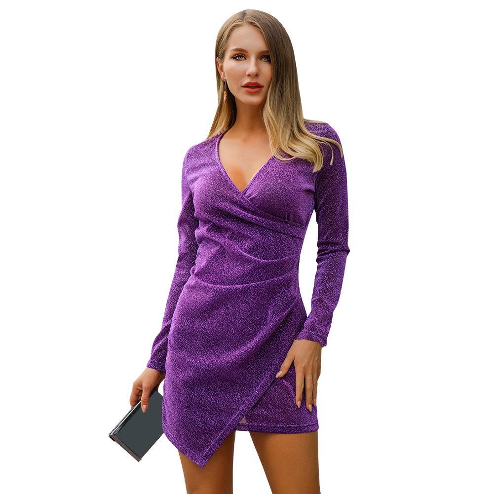 Fashion Evening Party Sexy Women Shimmer V Neck Long Sleeve Bodycon Irregular Mini Dress