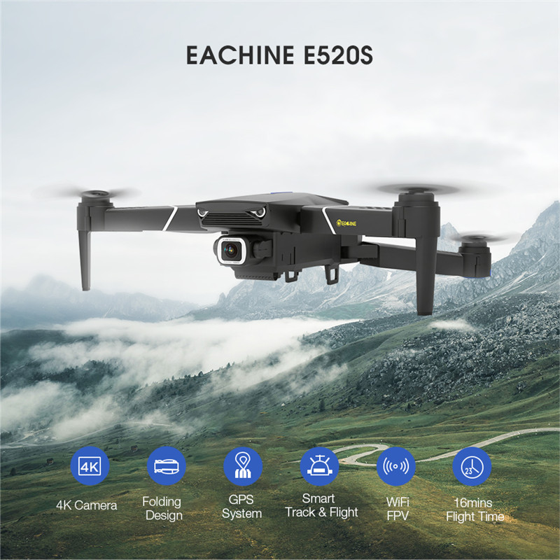 Eachine E520s Gps Wifi Fpv With 4k 1080p Hd Wide Angle Camera 16mins Flight Time Foldable Rc Drone Quadcopter Kid Helicopters Rc Quadcopter Aliexpress