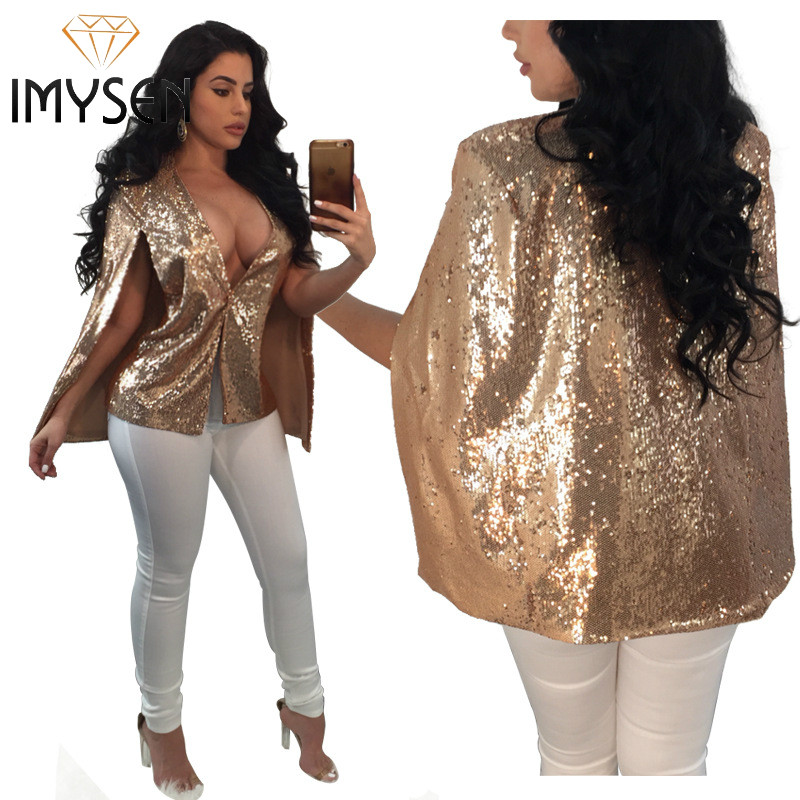 IMYSEN 2018 Spring Autumn Women Cloak Jacker New Arrive V Neck Sequins Female Tops Jackets Solid Fashion Party Outfit