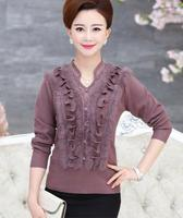 New autumn winter middle age women V-Neck sweater fashion mother ruched stiching fur knit pullover sweater plus size S60