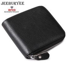 JEEBURYEE Men Wallet Genuine Leather Short Zipper Security Wallet RFID blocking Male Clutch Small Credit Card Holder Purse Black