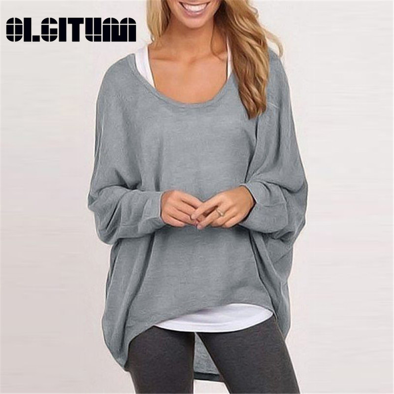 OLGITUM 2019 NEW Spring Autumn Women Blouse Casual Female Loose Batwing Long Sleeve Shirt Ladies Sweater Pullovers Plus Size