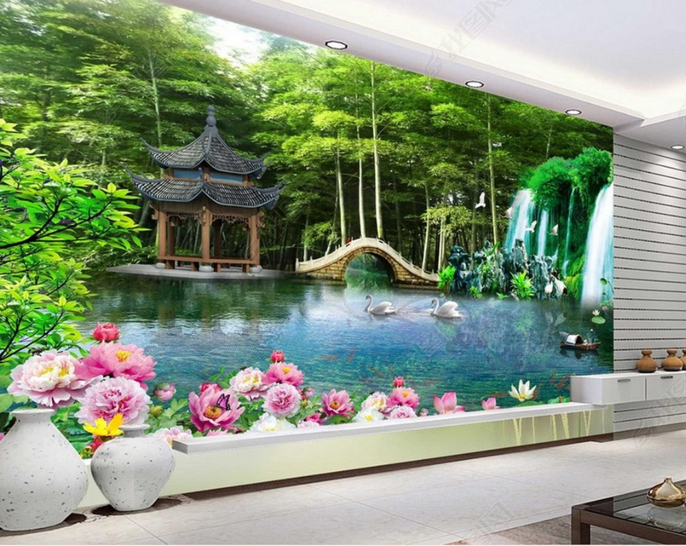 Custom 3d Mural Wallpapers Hd Landscape Mountains Lake: Wallpaper Scenery For Walls Custom 3d Background