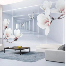beibehang  wall papers home decor Custom wallpaper Magnolia flower butterfly 3d abstract space modern tv background
