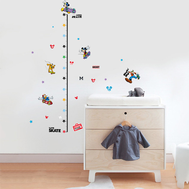 cartoon mickey dog skate riding growth chart wall stickers for kids