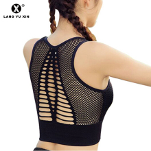 Sexy Hollow Out High Impact Sports Bra Seamless Mesh Back Workout Yoga Bra Tops  Fitness Running Brassiere Women Sport Bra цены онлайн