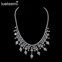 LUOTEEMI New Arrival Fashion Luxury Shinning Multi Cubic Zircon Wedding Party Necklace Earring Jewelry Set For Women Bridal Gift