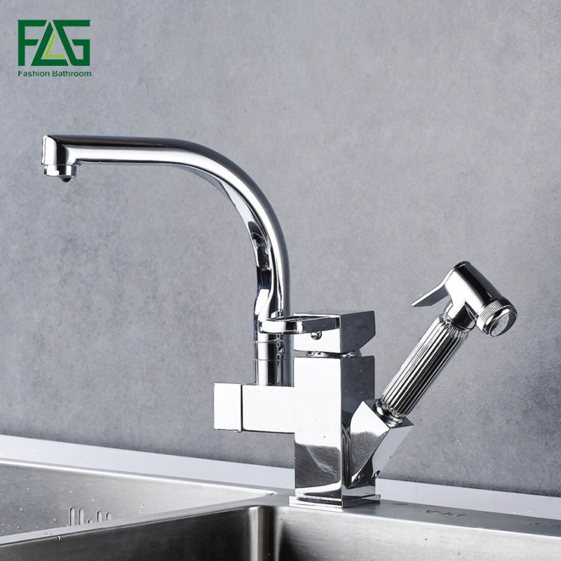 все цены на FLG Pull Out Kitchen Faucet Chrome Silver Swivel Kitchen Sink Mixer Tap Kitchen Faucets Single Handle Two Spouts Tap 303-33C