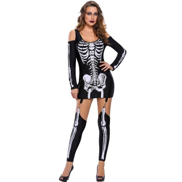 2018 New Fashion Sexy Women Mini Dress Skeleton Halloween Costume