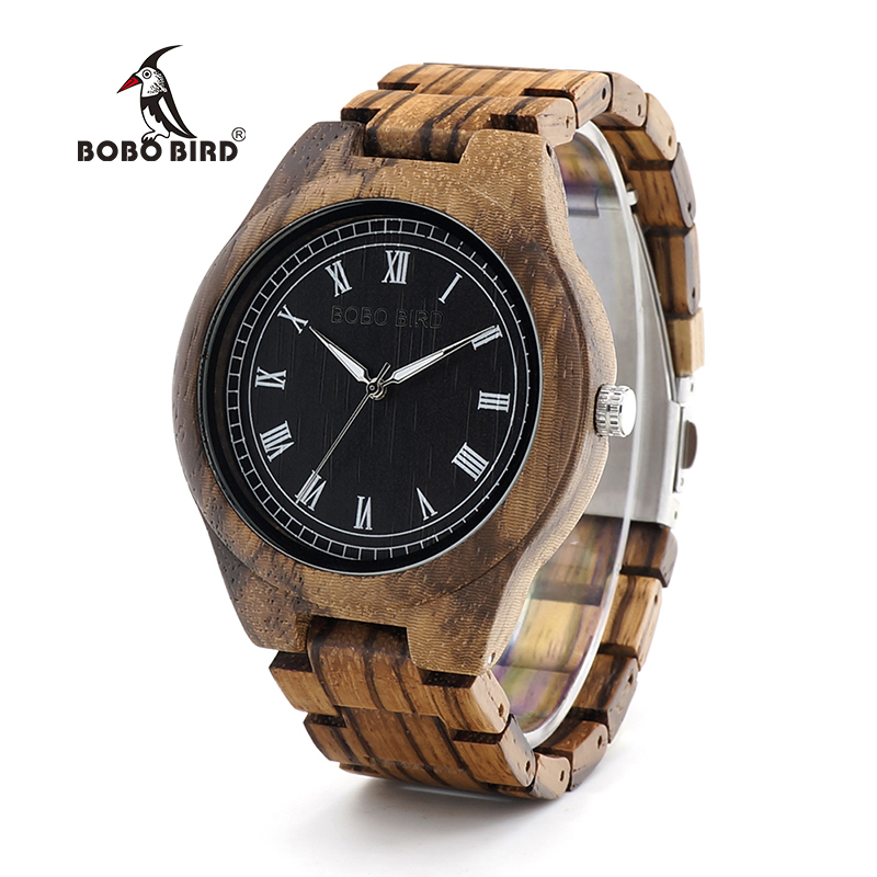 BOBO BIRD WO18O19 Wood Watch Ebony Zebra Wooden Watches for Men White Roman Number Quartz Watch with Tool for Adjusting Size bobo bird wh05 brand design classic ebony wooden mens watch full wood strap quartz watches lightweight gift for men in wood box
