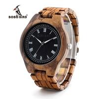 BOBO BIRD O18O19 Wood Watch Ebony Zebra Wooden Watches For Men White Roman Number Quartz Watch