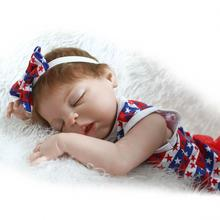 57cm Silicone Reborn Doll Realistic Bebe Sleeping Rooted Hair Magnetic Mouth lovely Poupee Newborn Children Toys Boneca