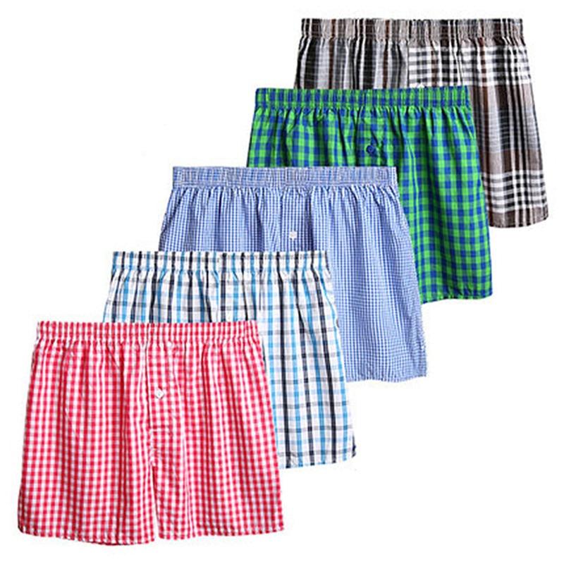 Plaid Men's Loose Boxers Mens Woven Boxer Cotton Underwear Trunks Plus Size 5XL 6XL Elastic Breathable Male Family Underpants