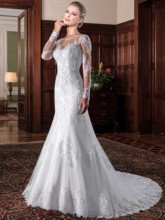 O-Neck Mermaid Long Sleeves Wedding Dresses with Lace Appliques Gowns