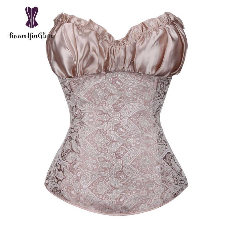 b5194cb8b6 Women s Lace Up Boned Plus Size Zip Side Sexy Lingerie Renaissance Top  Wedding Bridal Corset Bra