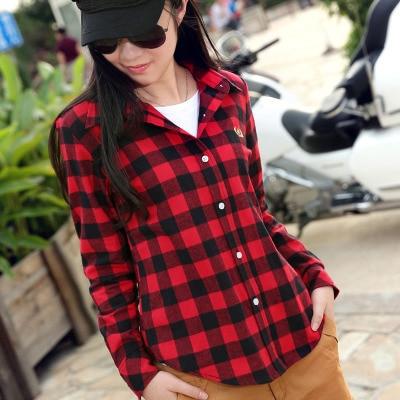 2016 Hot Sale Women Shirts tops new 100% Cotton Flannel Plaid Shirt Female Student Women's Long-sleeve Plus Size Basic Blouses 2
