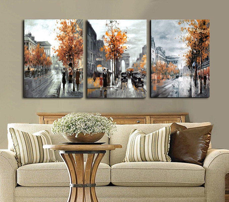 3 piece abstract paintings canvas art framed field street city landscape scenery poster modular. Black Bedroom Furniture Sets. Home Design Ideas
