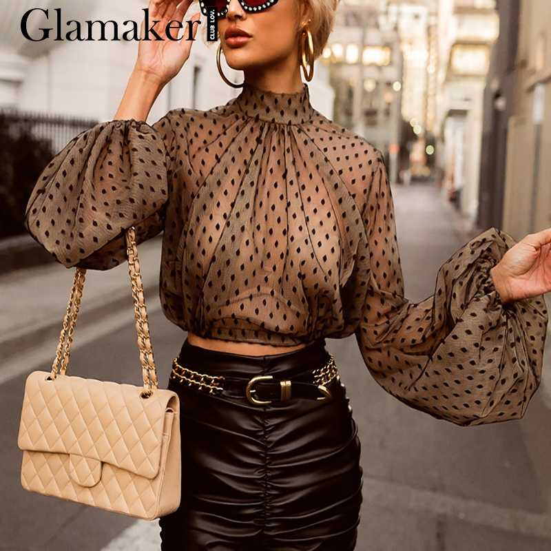 Glamaker Causale mesh sexy polka dot blouse Vrouwen lange lantaarn mouwen chiffon crop top Zomer vrouwelijke elegante zwarte blouse shirt