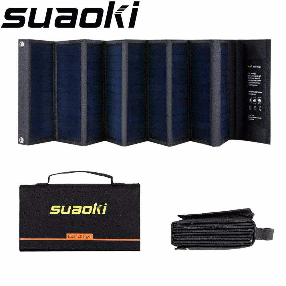 Suaoki 60w painéis solares 18v/5v portátil dobrável à prova ddual água carregador de painel solar porta dupla eficiência elevada para o telefone