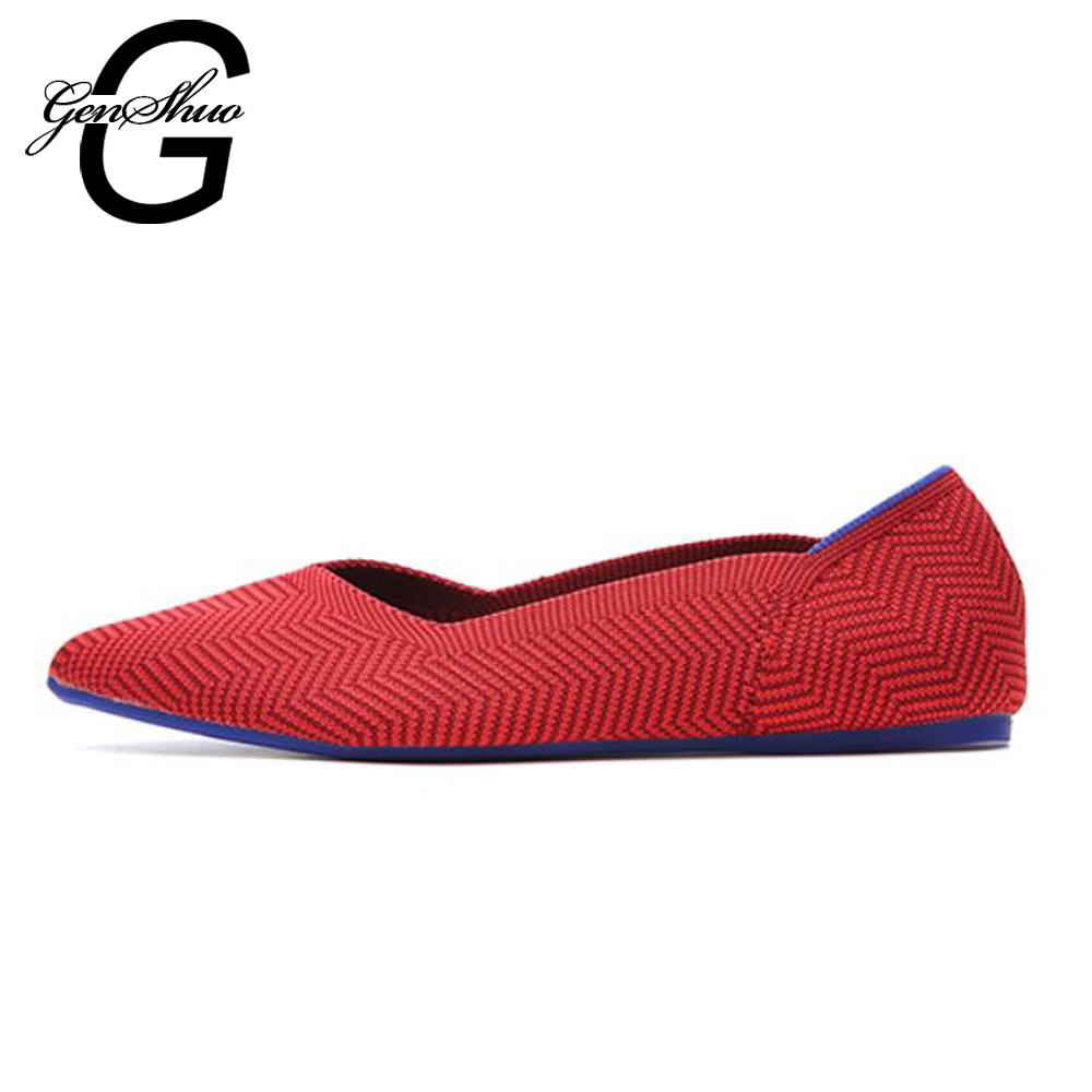 GENSHUO New Womens Flat Shoes Pointed Toe Casual Flat Shoes For Women 2018 Autumn Shallow Flats Comfortable Soft-soled Shoes 2018 new arrival women flats shoes shallow flat heel hollow out flower shape nude shoes pointed toe shoes zapatos mujer