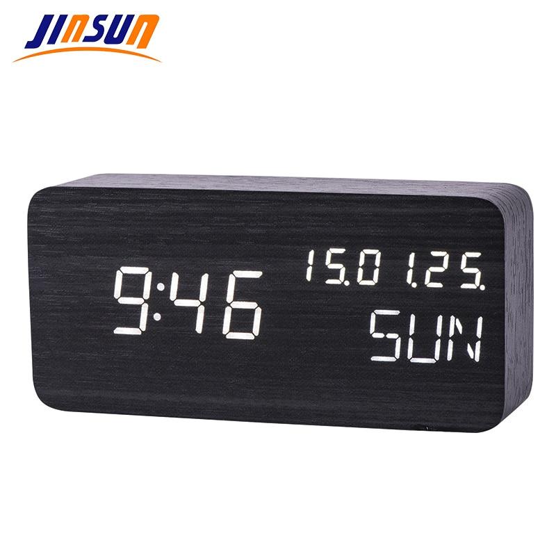 JINSUN Digital Table Clock Sound Control font b Electronic b font Clock Luminous Wooden Calendar Thermometer