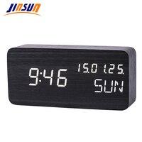 JINSUN Digital Clock Led with Calendar Sound Control Luminous Clock Wooden Thermometer Adjustable Brightness