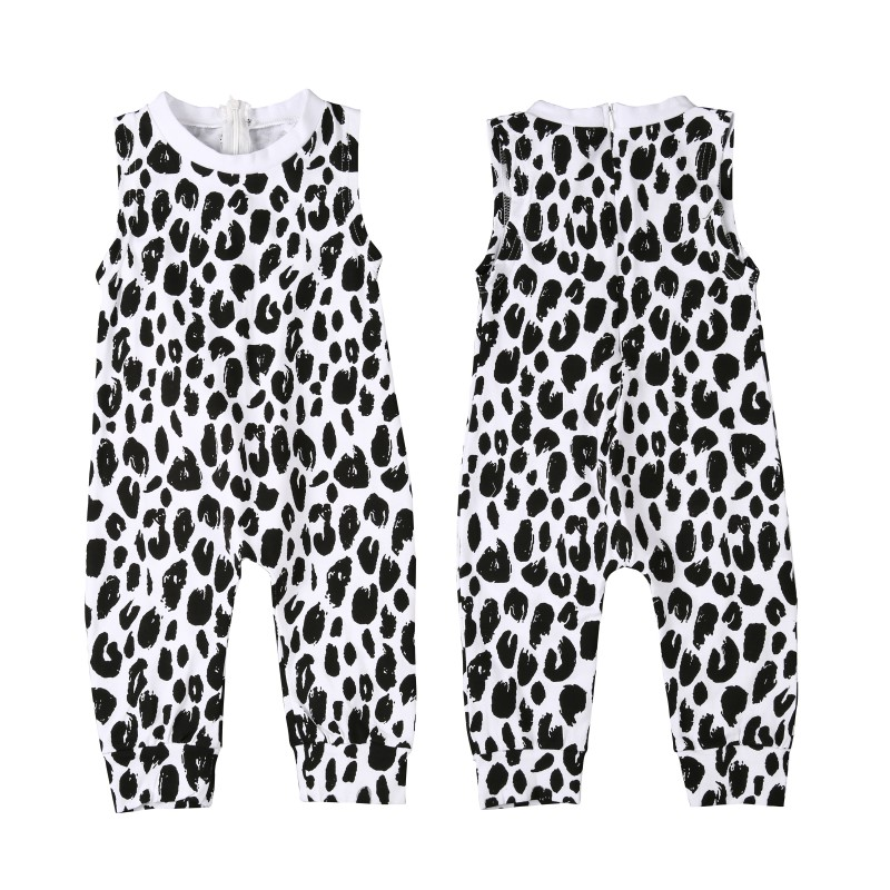 Hot Models Childrens Clothing Spring Summer Girls White Leopard Print Jumpsuit Newborn Cotton Comfort Clothing Set