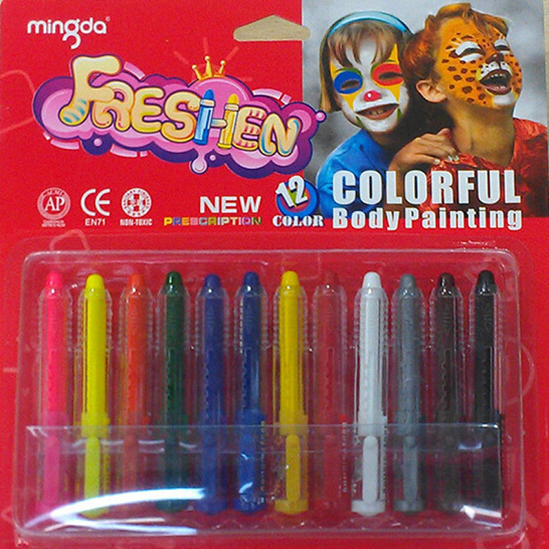 Artoys Dazzling Toys Colored Face Paint Crayon Sticks 12 colors 100% safe for Childrens DIY Educational Drawing Toys