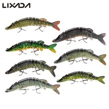 цены Lixada 12.5cm 20g 9-segement Muskie Fishing Lure Pike Lure Swimbait Crankbait Hard Bait Treble Hook Pesca Tackle