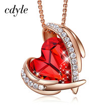 Cdyle Red Angel Pendant Necklace Rose Gold Necklace For Women Embellished with crystals Heart Jewelry Gift(China)
