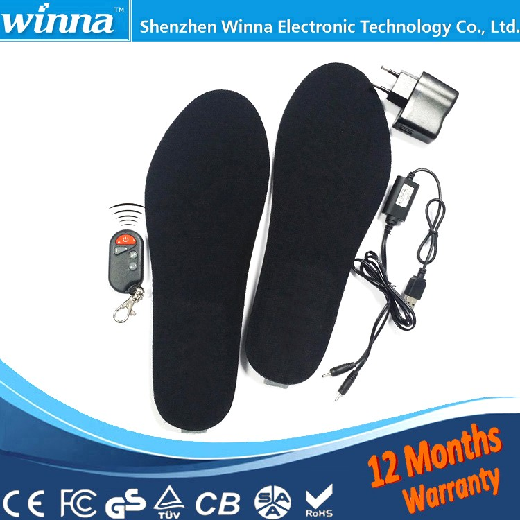 Buy Direct From China Factory Electric Foot Warmer Remote Control Thermal Insoles 1800mAh BLACK Mens 41