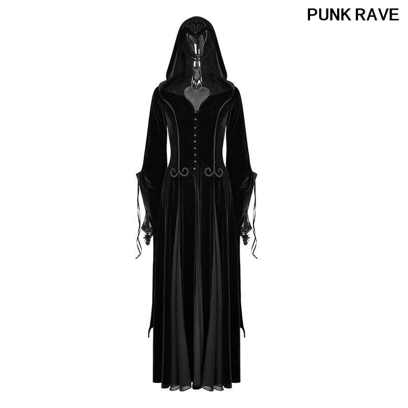 Готический Темный богиня вышивка широкий рукав женские длинные черные высококачественные бархатные пальто Панк рейв Y 797