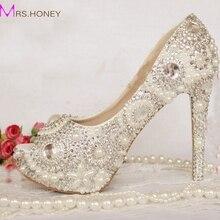 Peep Toe Strass Hochzeit Schuhe Kristall Elfenbein Perle Braut Schuhe Nach Maß Frauen High Heel Plattform Brithday Party Prom Schuhe