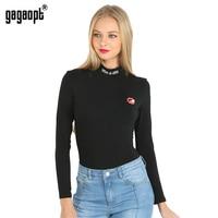 Gagaopt 2016 Autumn Print Red Lip Turtleneck 95 Cotton Women Jumpsuit Romper Sexy Elegant Bodycon Black