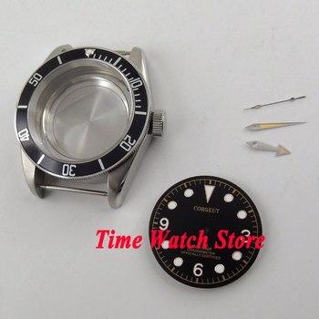 Fit ETA 2836 movimento 41 millimetri vetro zaffiro cassa dell'orologio in acciaio + Quadrante nero lunetta 316L + mani C135