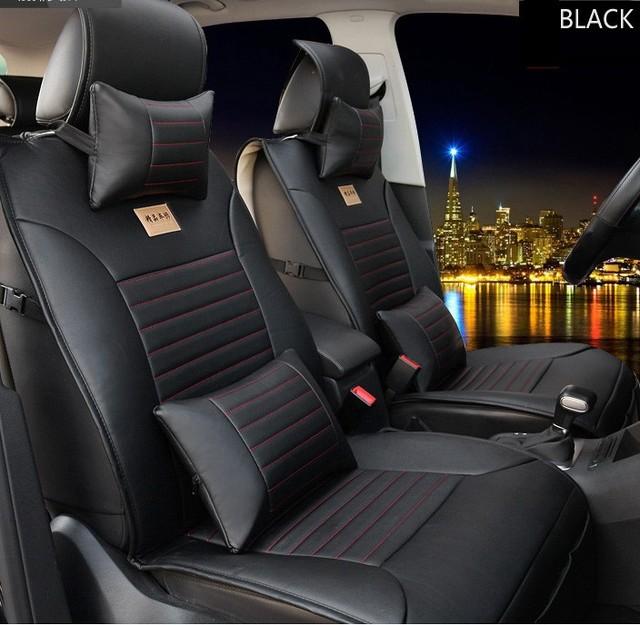 Para VW Volkswagen Polo Golf Passat Tiguan Jetta cojín de cuero de la marca negro / marrón asiento de coche de la cubierta delantera y trasera completa asiento