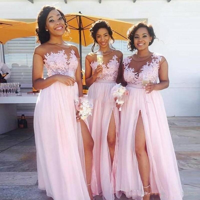 Rose Longo O Split Robe D'honneur De Robes Demoiselle Picture Formelle Femmes Cou Tulle Color Appliques pwSqEWI