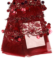 wine red french lace fabric 2018 african fabric nigerian lace high quality 3d flower beaded fabric bridal lace fabric 5yard/lot