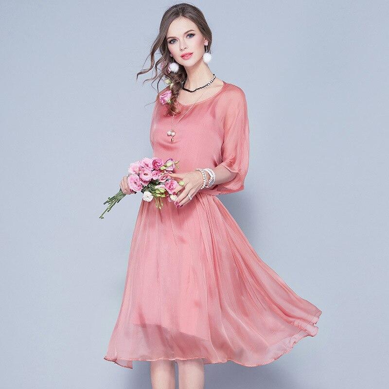2018 Printemps Été Haut de Gamme de Femmes Réel Soie Deux Pièces Robes Robes Femmes Élégantes Casual A-ligne Rose Noir Robe 17163