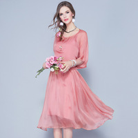 2018 Spring Summer High End Women's Real Silk Two Pieces Dresses Elegant Female Dresses Casual A line Pink Black Dress 17163
