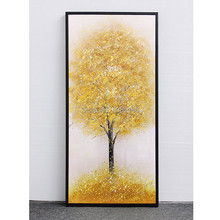 Artist Hand-painted High Quality Modern Abstract yellow gold tree Landscape Oil Painting on Canvas large autumn Tree