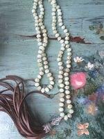 N16101509 Noeud Chaux Vert Cristaux Perles Collier Brun En Cuir Fringe Taseel Collier