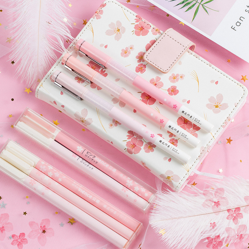 3 Pcs/Lot Pink Cherry Blossoms Green Leaf Gel Pen Kawaii Stationery Writing Pens Canetas Material Escolar Office School Supplies