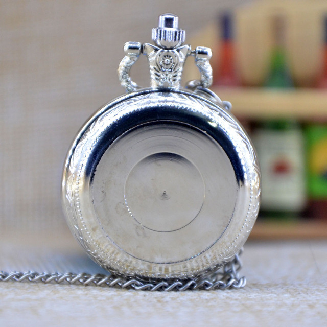 New Arrivals Silver can be affixed photo Steampunk Quartz Pocket Watch Analog Pe
