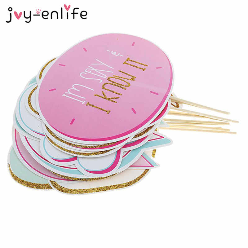 JOY-ENLIFE 10pcs/set Bride to Be Party Mask Photo Booth Props DIY On A Stick Photography Wedding Party Decor Hen Party Supplies
