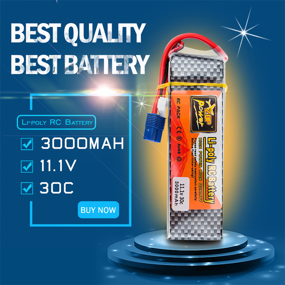 11.1V 3000mAh 3S Cell 30C RC LiPo Battery Pack EC3 Connector Plug for RC Airplane Helicopter Quadcopter Multirotor Drone Toys image