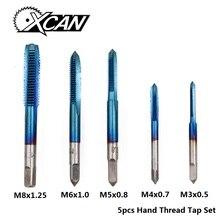 XCAN 5 шт. M3/M4/M5/M6/M8 HSS набор резьбовых насадок с нано-синим покрытием, прямая флейта, резьбовой кран, резьбовое отверстие, сверло, сверло