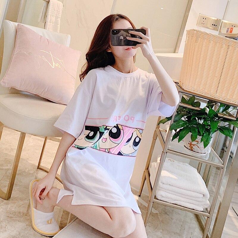 Yidanna Women   Nightgown   Summer Short Sleeved   Sleepshirt   Cute Sleep Clothing Cartoon O Neck Nighty Female Casual Print Sleepwear