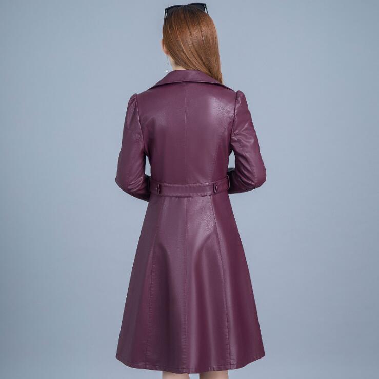 La Nouvelles Noir Manteau Hiver À Cuir bourgogne En Taille xxxxl Plus Custom Femmes Vestes Trench L Fit Double Longue Noir 2017 Boutonnage S4aqxwS
